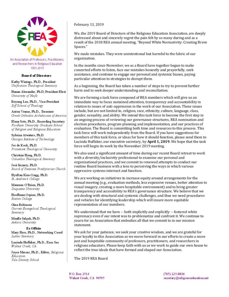 February 13, 2019 statement of the REA Board